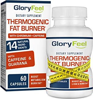 Gloryfeel Thermogenic Fat Burner - Weight Loss Supplement, Appetite Suppressant, Energy Booster - Weight Loss Pills, Weight Loss for Women & Men - 60 Capsules