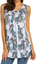 Halife Women's Paisley Printed Pleated Sleeveless Blouse Shirt Casual Flare Tunic Tank Top