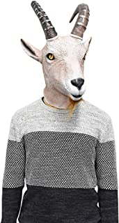 Latex Antelope Head Mask Farmyard Animal Goat Mask Halloween Fantasy Costume Party Dress Up