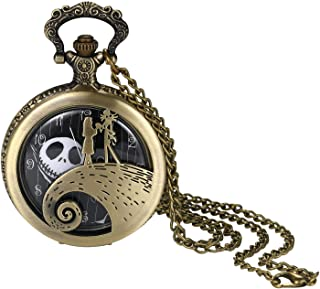 Fashion Personality Wave Couple Ghost Head Digital Dial Quartz Pocket Watch