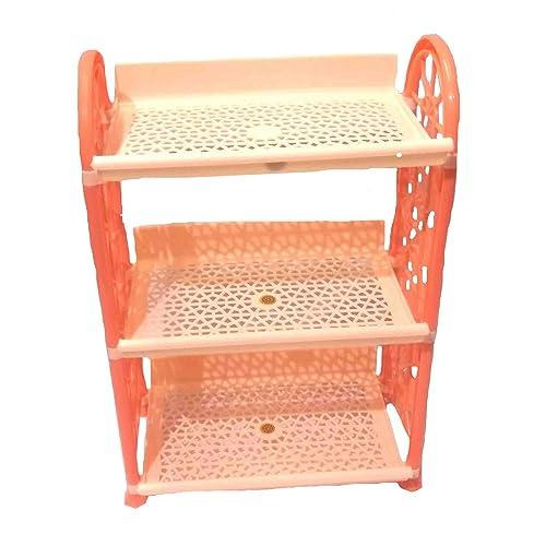 My.Shop Plastic Storage Shelf Kitchen, Bathroom Organizer 3 Tier Rack for Home and Office (Random Colour, BALI-EARRINGS)