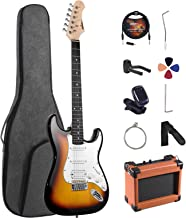 ADM Electric Guitar Beginner Kit 39 Inch Full Size Sunburst, Starter Package with Amplifier, Bag, Strap, String, Tuner, Ca...
