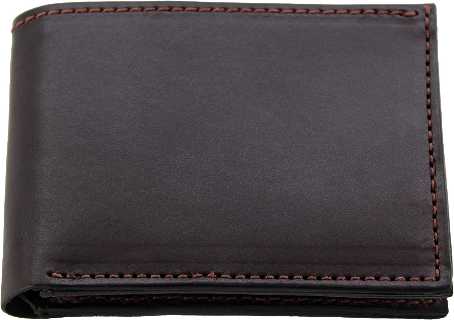 Premium Full Grain Bridle Leather Men's Bifold Wallet With Flip Up ID Window – Brown - Made in USA