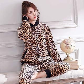 Conjunto De Pijamas para Mujeres,Invierno Leopardo Impresión Coral Polar Pijama Set Thicken Warm Soft Flannel Sleepwear Long Sleeve Cardigan Plus Size Loose Homewear Female