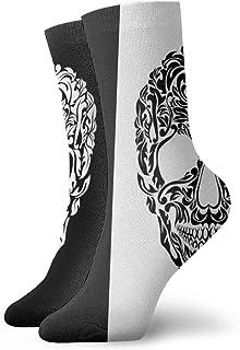 Skull Floral Shapes Crew Socks for Men - Men's Sport Socks - Athletic Socks