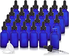 1 oz Frosted Cobalt Blue Glass Boston Round Graduated Measurement Glass Dropper Bottle (24 pack) + Funnel and Labels for essential oils, aromatherapy, e-liquid, food grade, bpa free