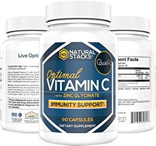Natural Stacks: Vitamin C Supplement - 90 Capsules - Immunity Support - Synergetic Protection - Improve Overall Health