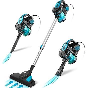 INSE Aspirador con Cable, 3 En 1 Vertical y de Mano, Hogar Escopa Aspiradora, Poderosa Succión 18Kpa, 600W, 1L, Hepa Filtro Lavable, 3 Cepillos Ajustable [Clase de Eficiencia Energética A+] (Azul): Amazon.es: Hogar