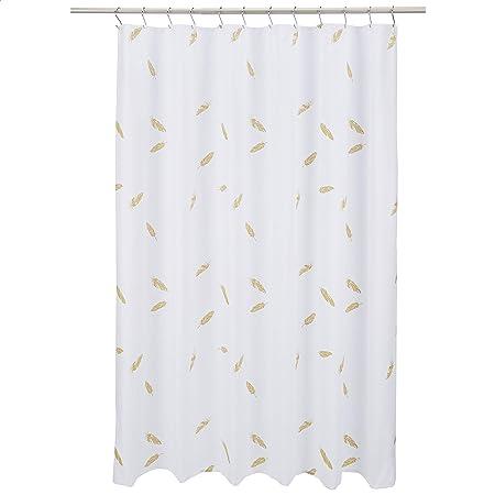 Amazon Basics Shower Curtain - Metallic Gold Feather