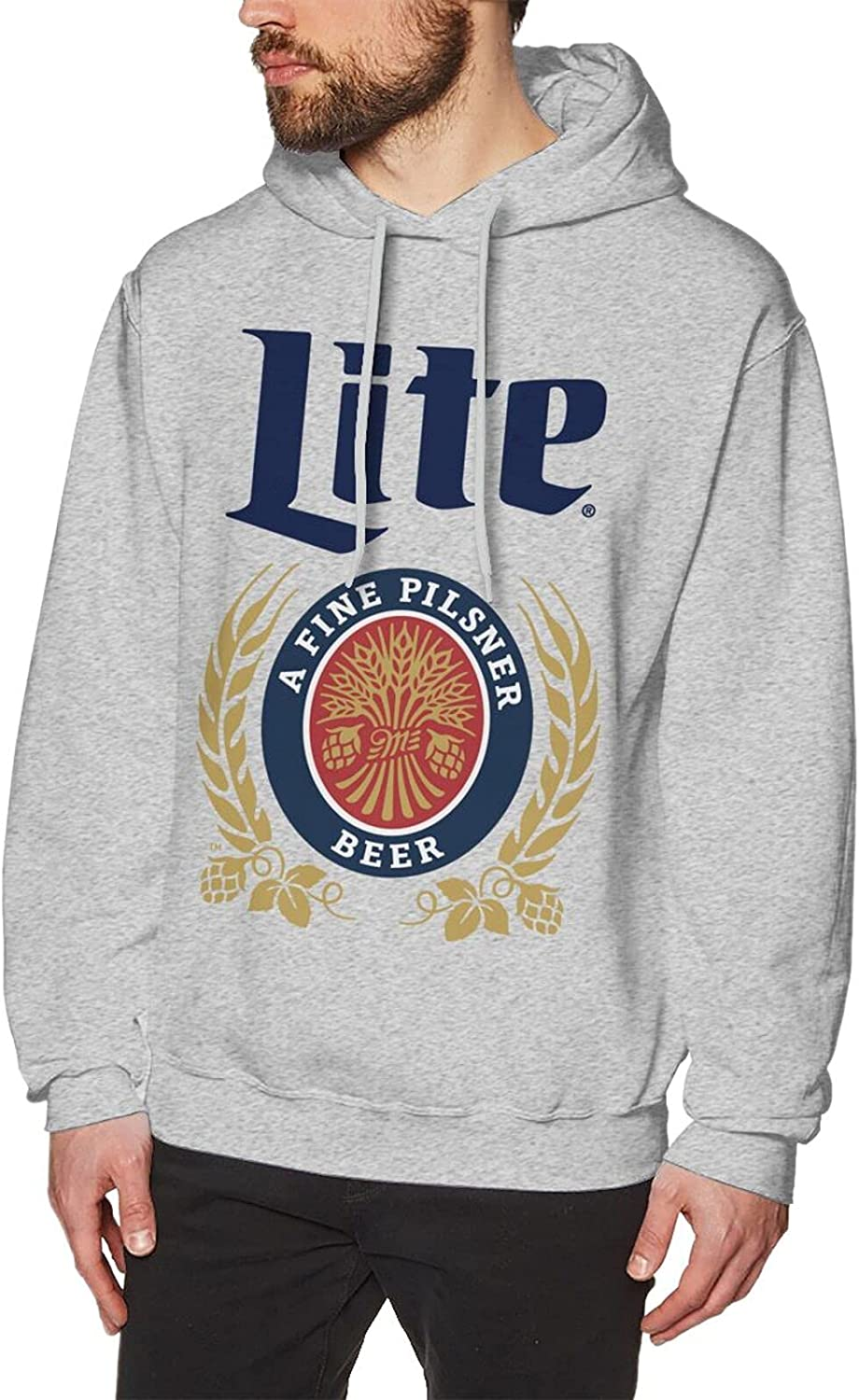 Quantity limited Miller-Lite-Beer Men'S Cotton Hoodie Graphic Pullov Sale SALE% OFF Personalized