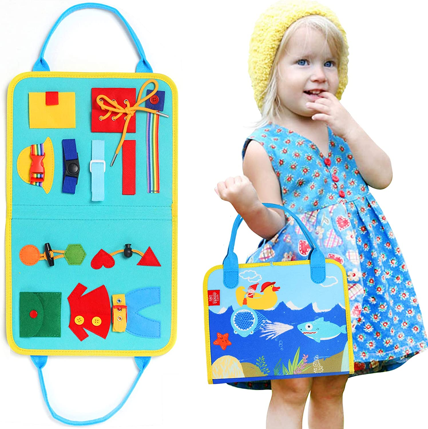 Lehoo Castle Busy Board Montessori Toys for Toddlers Sensory Toys Basic Skills Board Educational Learning Toys for 1 2 3 4 Year Old Kids Preschool Learn to Dress