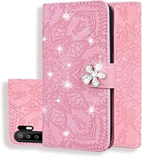 For Huawei P30 Pro Calf Pattern Diamond Mandala Double Folding Design Embossed Leather Case with Wallet & Holder & Card Slots New (Brown) Hopezs (Color : Pink)