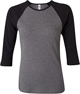 Canvas Womens 1x1 Baby Rib 3/4-Sleeve Contrast Raglan T-Shirt (B2000)