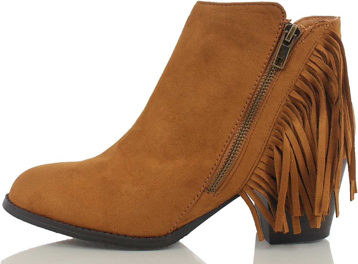 Soda Women's Noriko Faux Suede Fringe Moccasin Ankle Boot,British Tan,8.5