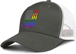 Unisex Vintage Mesh Baseball Cap-Distressed Rainbow Flag Gay Pride Style Adjustable Fits Travel Sunscreen Hat Outdoors