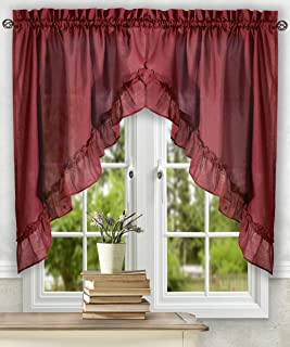 Simple Comfort Ellis Curtain Stacey 60-by-38 Inch Ruffled Swag Curtain (Merlot)