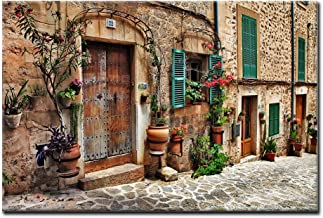 Streets of Old Mediterranean Towns Flower Door Windows Wall Art Painting The Picture..