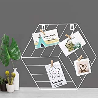 Art Street White Color Hexagon Shape DIY Metal Photo Grid Wall for Photo Hanging, Wall Decoration and Display (Size- 35 x ...