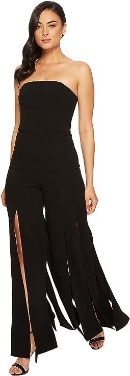 Halston Heritage - Strapless Strips Jumpsuit