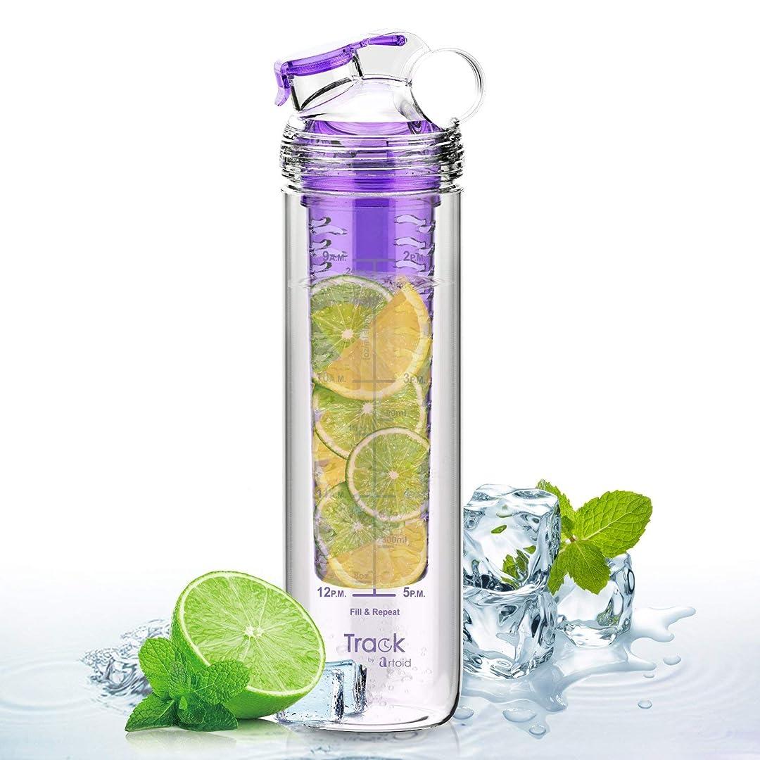 自発的もし雨のArtoid Mode 800ml水筒 フルーツ デトックス フィルター 時間マーカー 目盛り ウォーター スポーツボトル 直飲み ジュース 健康 Tritan BPA フリー
