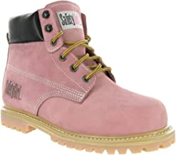 Safety Girl GS002 Nubuck Leather Steel Toe Water Resistant Womens Work Boot, 6
