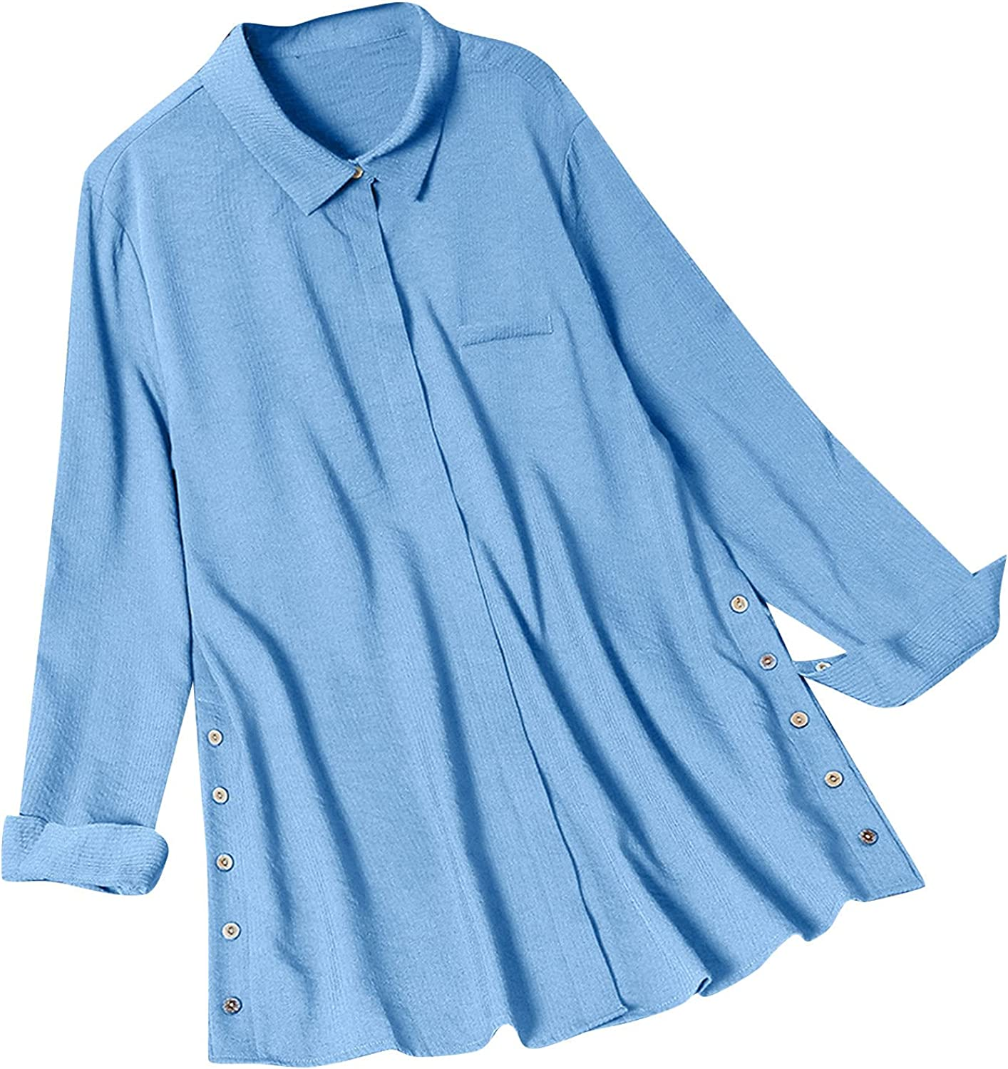 Women Button Solid Shirt Tops Lapel Ruffle Flowy Shirts Fall Work Daily Shirt Blouses with Pockets