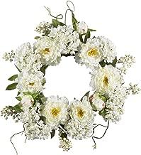 Nearly Natural 4690 20 Inch Peony Hydrangea Wreath