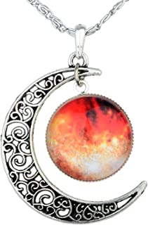 Galaxy & Crescent Cosmic Orange Moon Pendant Necklace, Blue Glass, 17.5'' Chain, Great Gift for Women