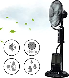 [in.tec] Ventilador humidificador 125x40x40cm Climatizador Pulverización del Agua Ventilador de pie Silencioso 3 Velocidades Enfriador 75W Negro