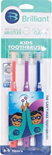 Brilliant Kids Toothbrush Ages 5-9 Years - When Adult Teeth Appear - BPA Free Super-Fine Micro Bristles Clean All-Around Mouth, Kids Love Them, Red-Purple-Royal, 3 Count
