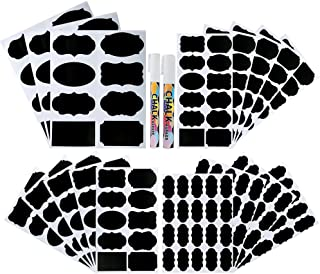 Pllieay 214 Pieces 4 Sizes Chalkboard Labels Waterproof Reusable Chalkboard Labels Stickers with 2 Pieces Erasable Chalk M...
