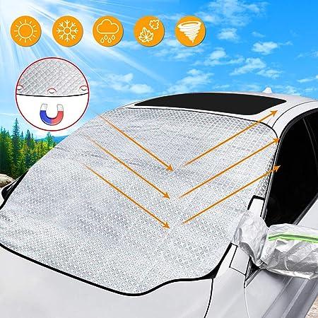 Solawill Frontscheiben Abdeckung Auto Scheibenabdeckung Windschutzscheibenabdeckung Magnetische Magnet Fixierung Faltbare Abnehmbare Für Die Sonne Staub Eis Frost Schnee 187 110cm Auto
