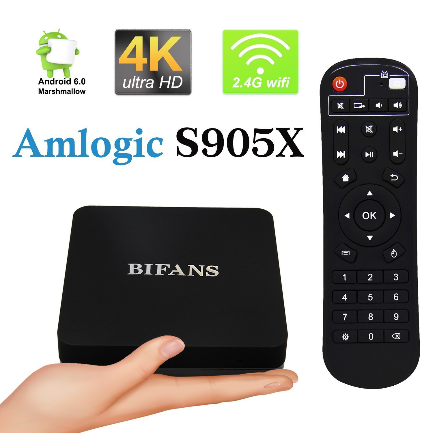 Android TV Box, bifans Pro 2 GB/16GB Bluetooth Android Smart TV Box, Amlogic S905 X
