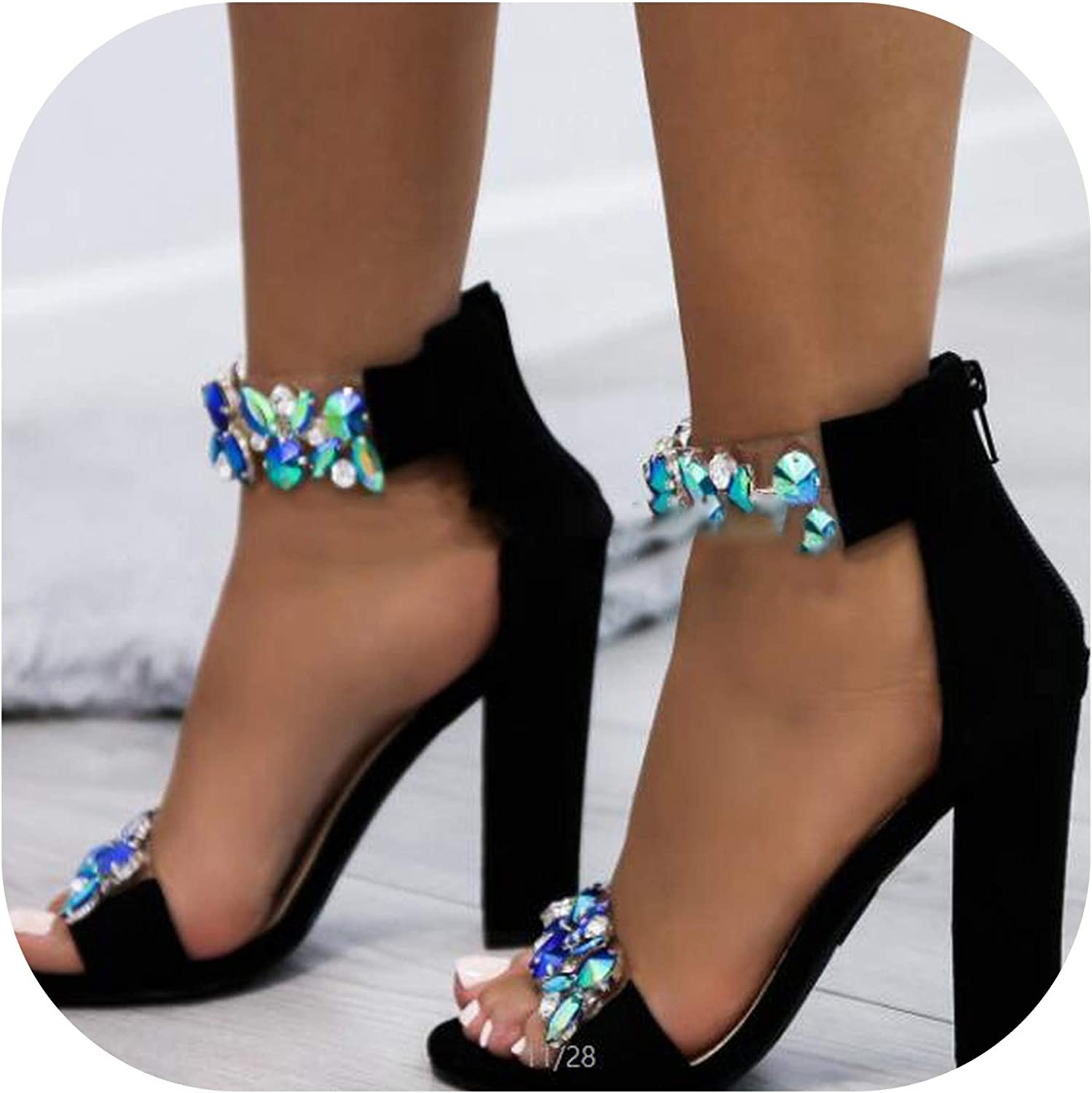 Summer Women colorful Pumps High Heels Sandals Ladies Wedding Party Fashion Ankle Strap Sandals