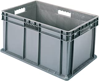 Akro-Mils 37688 24-Inch by 16-Inch by 8-Inch Straight Wall Container Tote with Solid Sides and Solid Base, Case of 4, Grey