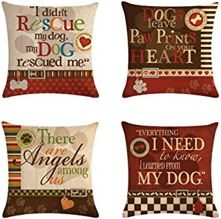 Smilyard Dog with Quotes Decorative Pillow Covers Cotton Linen Square Dog Lover Throw Pillow Cases Cushion Cover 18 x 18 Inch for Home Sofa Bedroom (Set of 4)