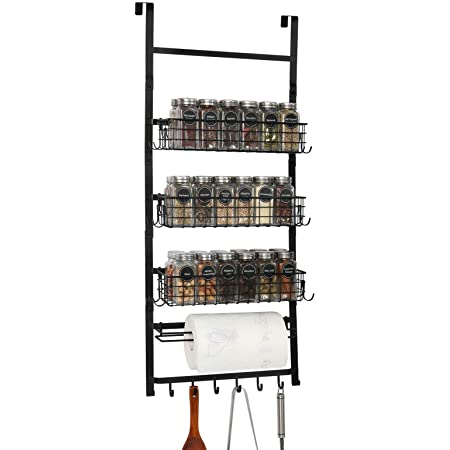 X-cosrack 3 Tier Spice Rack Organizer,Door Pantry Organizer Rack with Hooks and Napkin Holder,Wall Mounted - for Cans, Spice, Food, Closet -DIY Kitchen,Bathroom Display Shelves