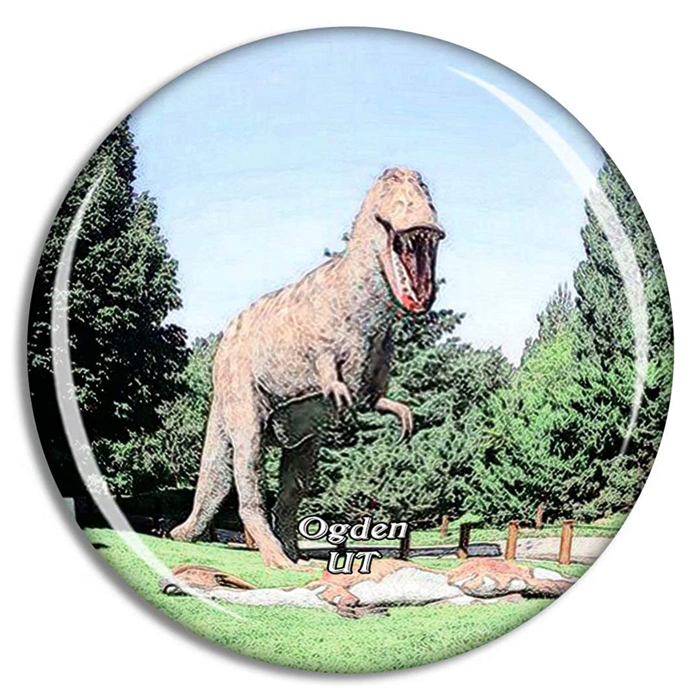 キャプションベット追い付くユタ州オグデン恐竜公園米国冷蔵庫マグネット3Dクリスタルガラス観光都市旅行お土産コレクションギフト強い冷蔵庫ステッカー