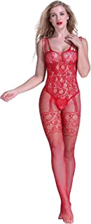 5692f1969 EVAbaby Sexy Fishnet Crotchless Bodystocking Lingerie for Women Sheer  Babydoll Teddy Nightie Leotard Body Suit Stocking