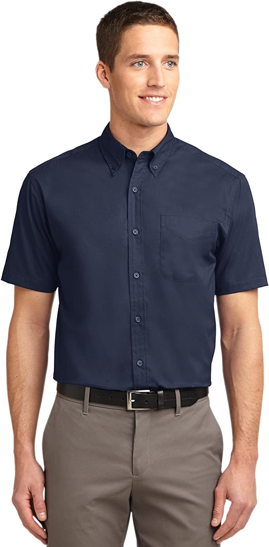 Port Authority Short Sleeve Easy Care Shirt 5XL Navy/Light Stone