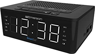 Emerson SmartSet Alarm Clock Radio with Bluetooth Speaker, Charging Station with 2 USB Ports for Iphone/Ipad/Ipod/Android ...