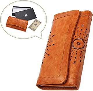 OURBAG Women Leather Wallet Clutch Purse Card Holder Ladies Hollow Out Long Wallet