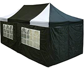 10'x20' Pop up 6 Walls Canopy Party Tent Gazebo Ez Black/White - F Model Upgraded Frame By DELTA Canopies