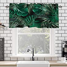 "AiiHome Window Valance Curtains Kitchen Curtains and Valances Set Tropical Leaf Valance Curtains Rod Pocket Kitchen Window Curtain, 3 Piece Kitchen Curtain Set 58"" x 14"" Kitchen Valance"