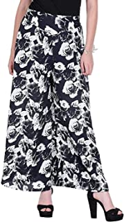 Fraulein Women's/Girls Palazzos Black Floral Printed Soft Crepe Flared Bottom Trendy and Stylish Palazzos with One Pocket ...