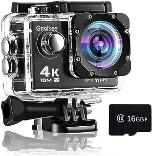 Gnolkee 4K Cámara de acción WiFi 16 GB tarjeta TF, 16 MP c