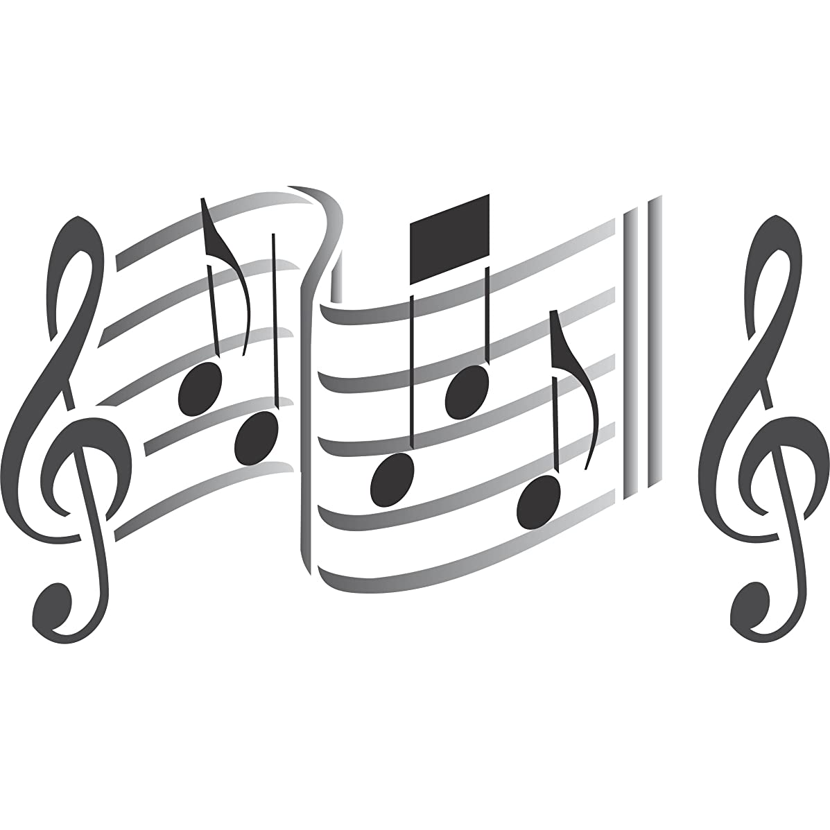 Music Stencil - 10 x 6.5 inch (S) - Reusable Musical Sheet Notes Notation Treble Clef Stencils for Painting - Use on Paper Projects Scrapbook Journal Walls Floors Fabric Furniture Glass Wood etc.