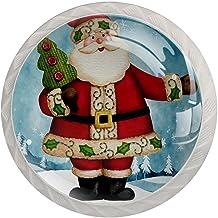 Lade knoppen ronde kristallen glazen kast handgrepen Pull 4 Pcs,Santa Claus Snow Forest Xmas Tree