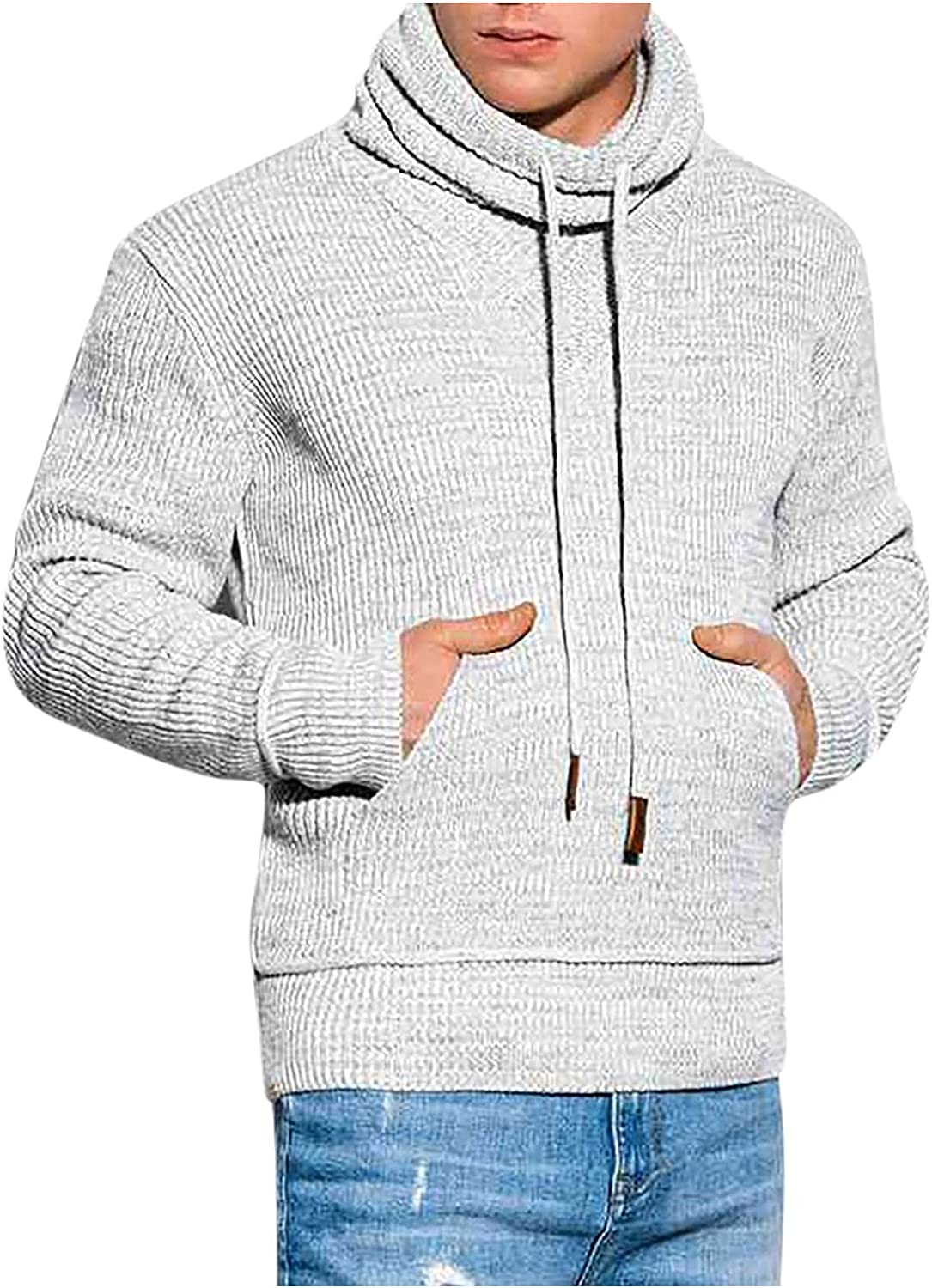 Men's Fall Winter Solid Color Turtleneck Drawstring Stand Collar Knitted Long Sleeve Casual Pullover Sweater