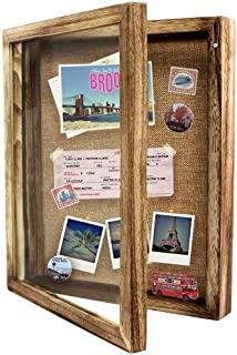 Awards Medals and Tickets-Rustic Brown Large Shadowbox Picture Frame Perfect for Photos,Sports Memorabilia BECTSBEFF 11x14.5 Shadow Box Display Frame with Linen Board 2.5-inch Depth